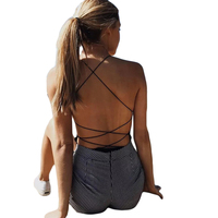 Sexy Lace Up Bodysuit 2018 New Sleeveless Bandage Jumpsuits Bodycon Backless Summer Beach Vacation Romper Body