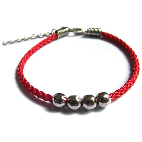 National wind men and women lovers bracelet hand rope Handmade beaded alloy four bead red rope