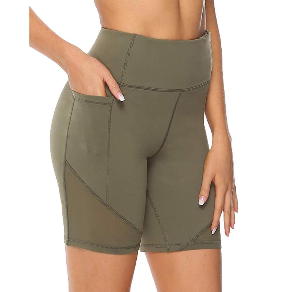 Women Yoga Short High Waist With Pocket  Abdomen Control Training Running Yoga Shorts  Fitness Pantalones Cortos Short Mujer T#