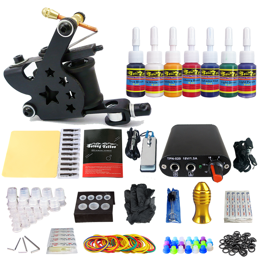 Hybrid Complete Tattoo Coil Machine Kit For Liner Shader Power Supply Foot Pedal Needles Grip Tips Tattoo Body&Art TK105-41 2017 pro complete tattoo machine kit set 2pcs coil tattoo machine gun power supply needles grips tips footswitch for body art
