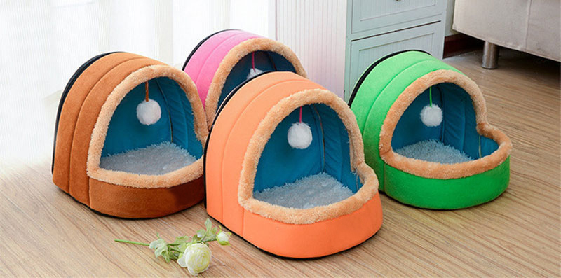 5 Colors Pet Dog Cat Bed Foldable Puppy House With Toy Ball Warm Soft Pet Cushion Dog Kennel Cat Castle (5)