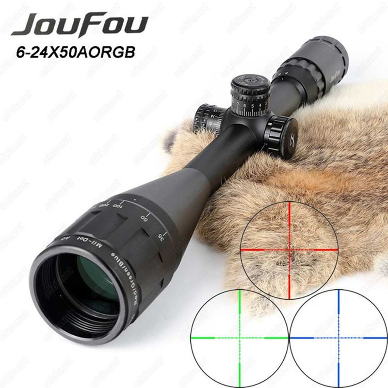 JouFou 6-24X50 Hunting Riflescope RGB Mil Dot Tactical Rifle Scope Wire Reticle Optical Sight with W/Picatinny or Dovetail Rings tactial qd release rifle scope 3 9x32 1maol mil dot hunting riflescope with sun shade tactical optical sight tube equipment