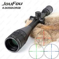 JouFou 6-24X50 Jagd Zielfernrohr RGB Mil Dot Taktische Zielfernrohr Draht Absehen Optical Sight mit W/Picatinny oder Schwalbenschwanz ringe
