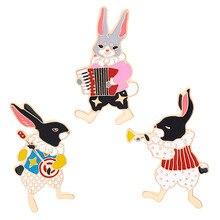 Pins and brooches Musician banjo/accordion/trumpet rabbit pin Bunny pins Rabbit jewelry Cute kawaii gifts