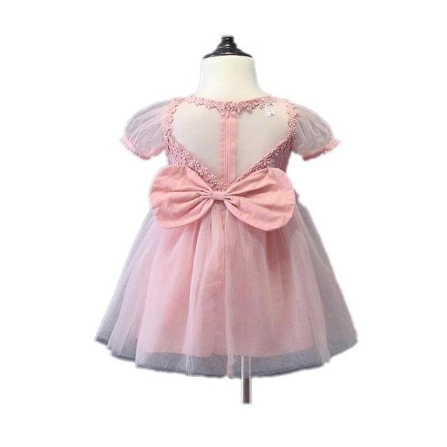 Diseño de verano Gran Lazo Rosa Niños Vestido de Fiesta de Manga ...