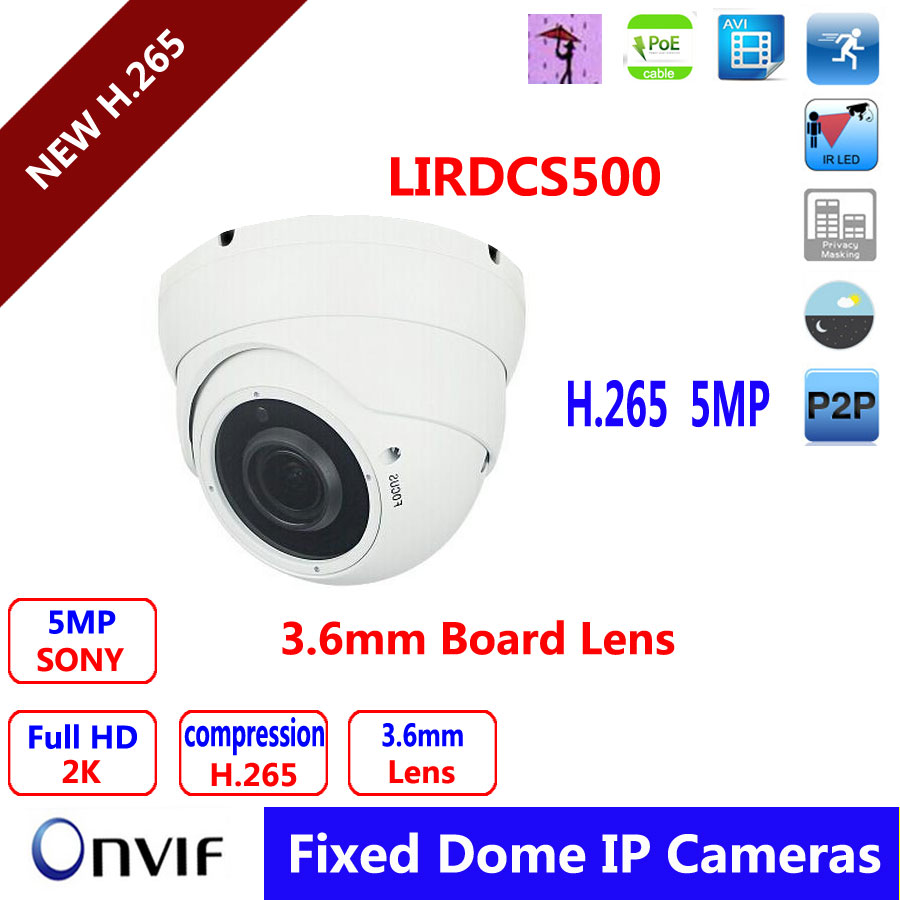 H.265 IP Camera Multi-language 5MP Full HD Vandalproof  POE Dome 3.6mm Lens  low stream new 4mp multi language h 265 h264 ip poe dome camera board lens 2 8mm support web cam p2p view