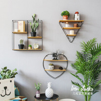Nordic simple iron art circular word partition wall shelf wall wall decoration small shelf (Without plants) LU716118