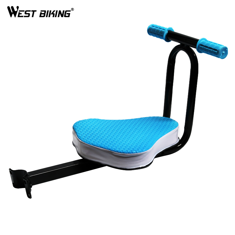 ФОТО WEST BIKING Children Front Cycling Saddle Handlebar MTB Bike Electric Bicycle Child Seat Armrest Kid Safety Front Cycling Saddle