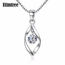 7086132fe25e Utimtree 925 Collar de plata y colgantes joyería para las mujeres con caja  de cadena grande de lujo CZ cristal collares de piedr.