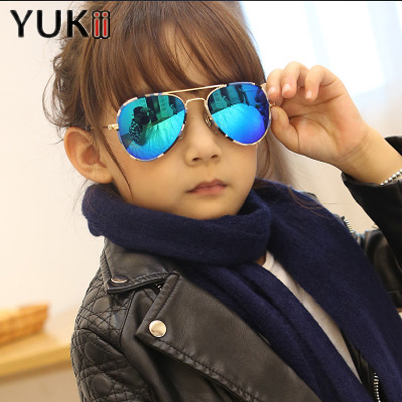 YUKII 2016 New Fashion Kids Sunglasses Mirror Pilot Glasses Aviator Ray Sun Glasses Luxury Brand sonnenbrille