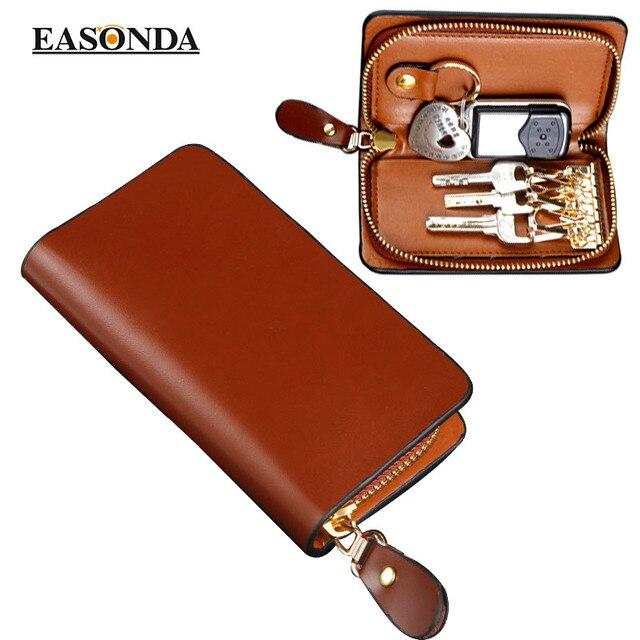 Unisex Genuine Cow Leather Women Men's Zipper Car Key Bag Holder Chain Ring Case  6 Keyrings Zipper Coin Wallet Purse