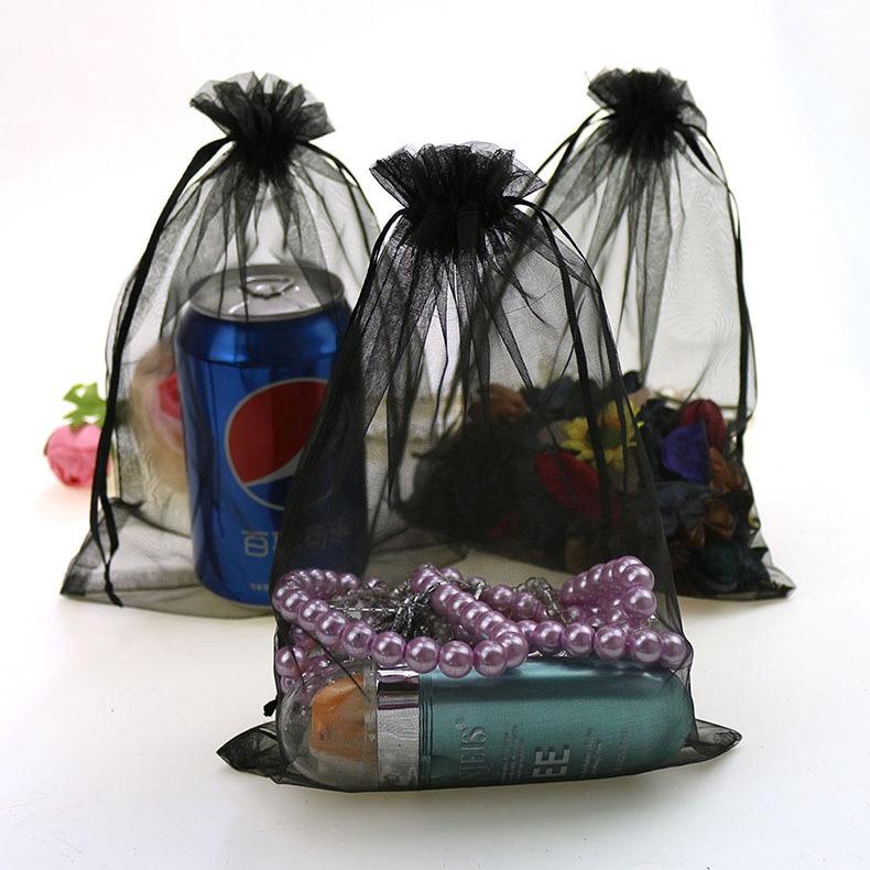 17x23cm Black Drawable Organza Jewelry Bags Bolsitas Regalos Promotion/Weeding Gift Bags Organza Sachet 100pcs/lot Wholesale