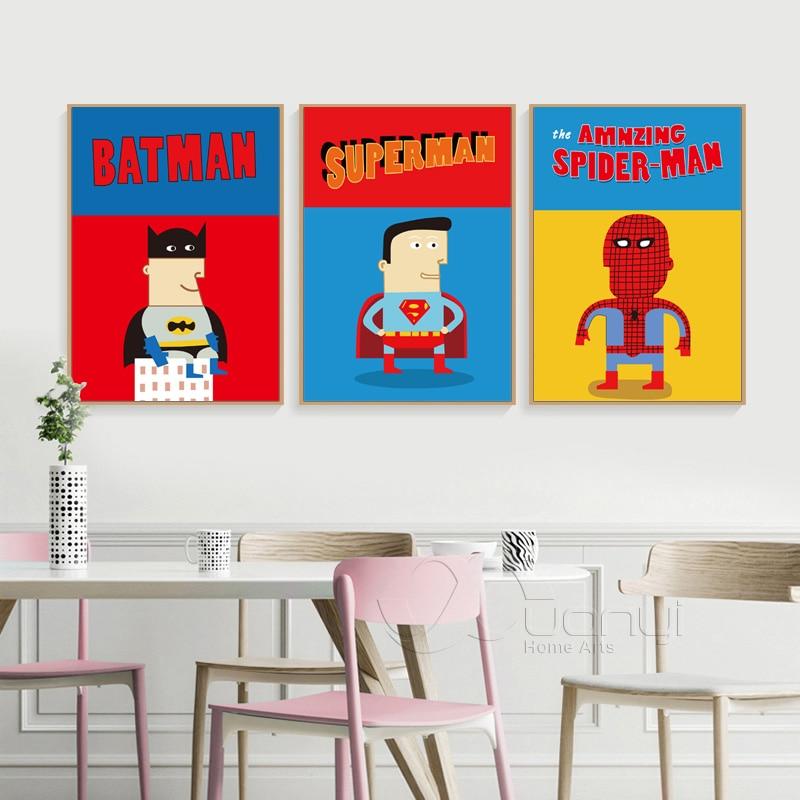Nordic Style Superhero Movie Poster Superman Batman Canvas Art Print Cartoon Wall Pictures For Kids Room Home Decor