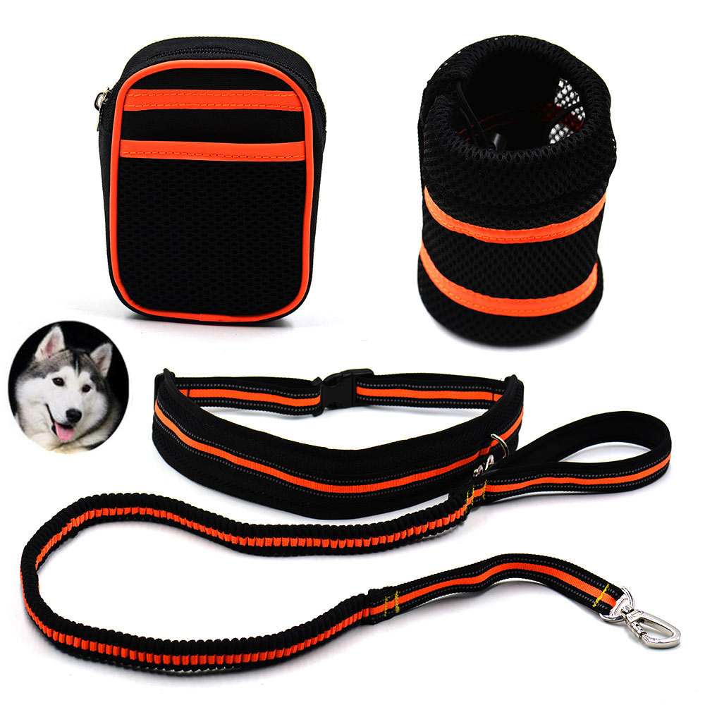Adjustable Dog Leash With Reflective Strip Waist Belt Bag Bottle Holder Elastic Pet Supplies For Running Walking Hiking