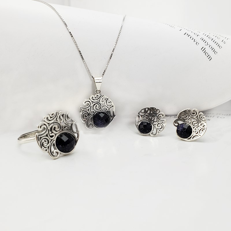 100% Genuine Real Sterling Silver 925 Black/Blue Natural Stone Pendant Necklace Ring Stud Earrings Women Vintage Jewelry Set100% Genuine Real Sterling Silver 925 Black/Blue Natural Stone Pendant Necklace Ring Stud Earrings Women Vintage Jewelry Set
