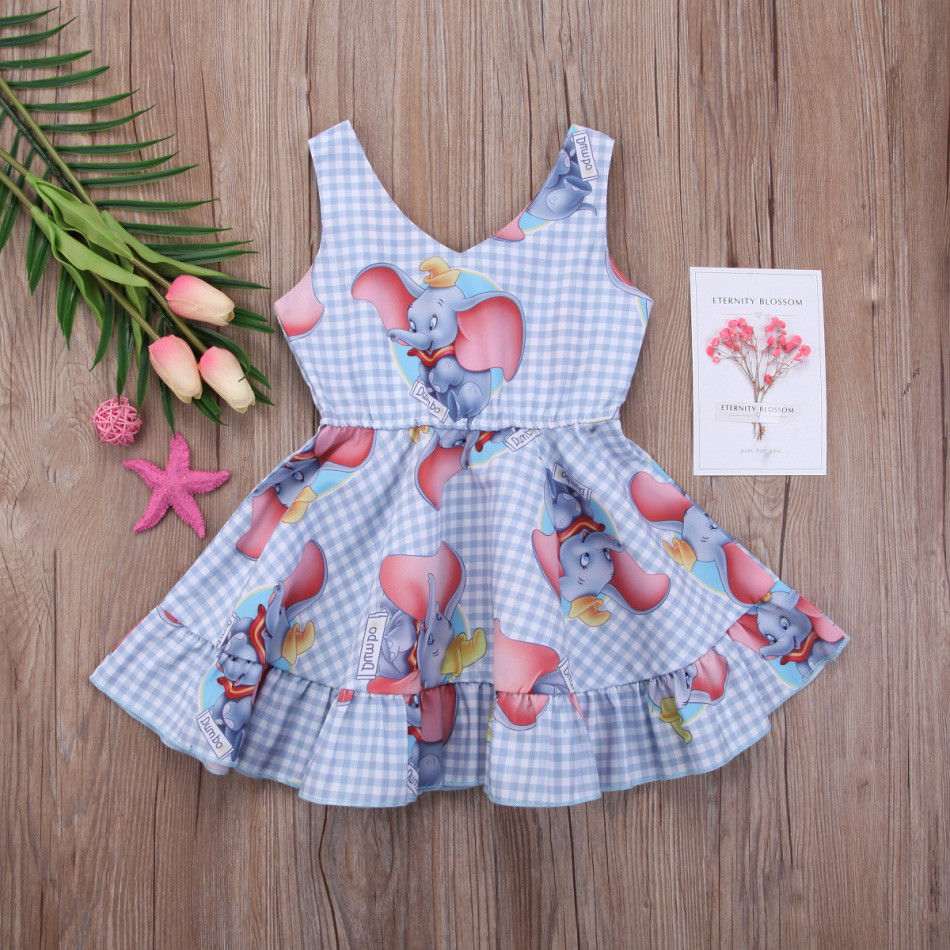 Muqgew Party Dress For Girls Princess Toddler Baby Girls Dress Cartoon Elephant Print Plaid Sleeveless Dresses Outfits Bebek El Back To Search Resultsmother & Kids Dresses