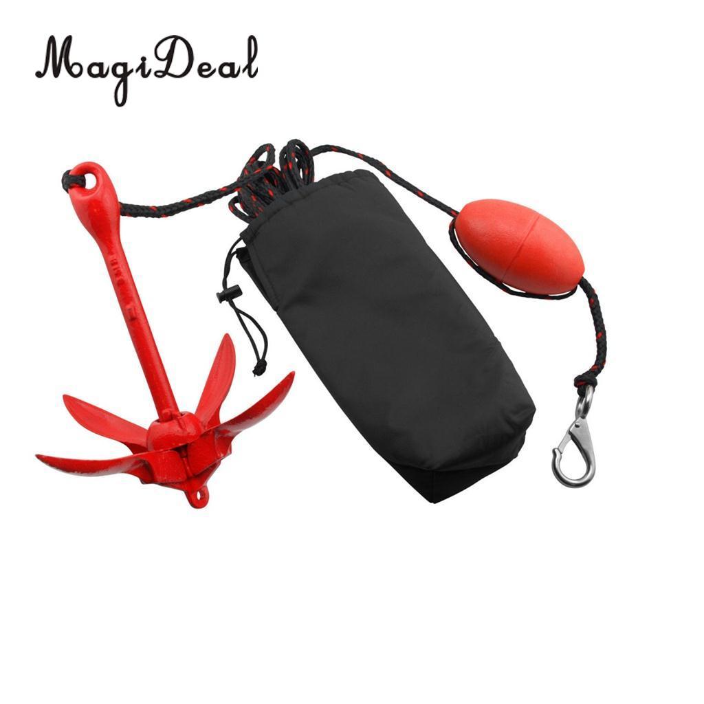 Heavy Duty Boat Kayak Canoe Jet Ski Folding Anchor Rope Buoy Snap Hook Kit Accessories for
