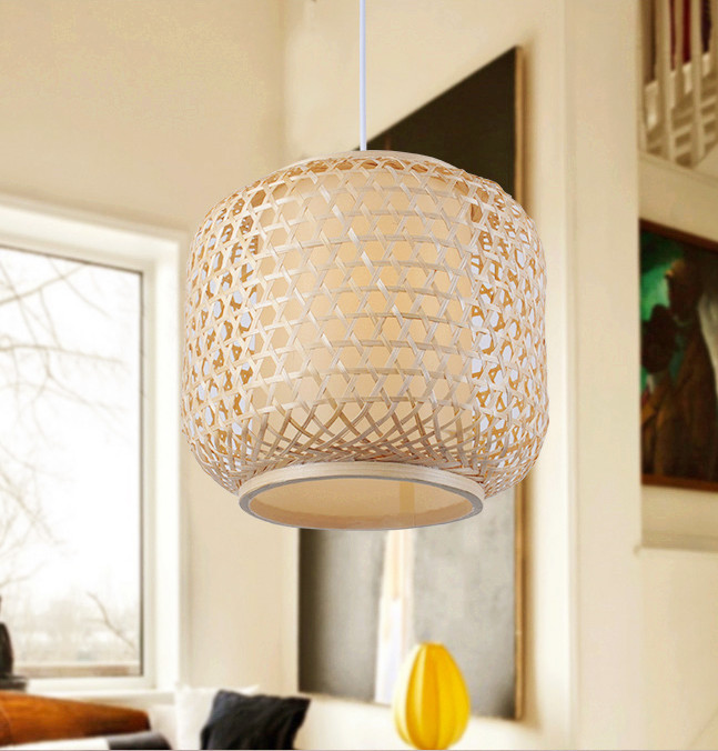 Chinese rustic handwoven bamboo Pendant Lights Southeast Asia style brief round E27 LED lamp for porch&parlor&stairs LHDD013 southeast asia style hand knitting bamboo art pendant lights modern rural e27 led lamp for porch