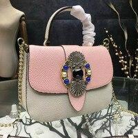 Exclusive Design 2017 Women Pearl Pattern Messenger Crossbody Genuine Leather Bags Shoulder Handbag Cowhide Chains Diamonds