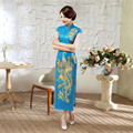 High Quality Handmade Embroidery Chinese Women Cheongsam Noble Elegant Long Satin Qipao Peacock Dress Size S M L XL XXL C0042