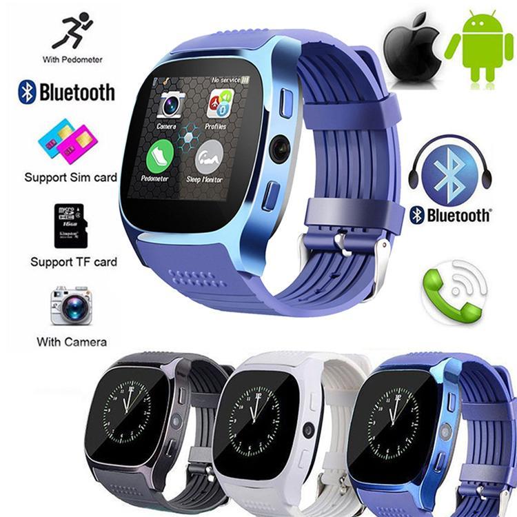 JRGK T8 Bluetooth Relógio Inteligente Com Câmera Whatsapp Facebook SIM Suporte Cartão TF Chamada Smartwatch Para Android Telefone PK Q18 DZ09
