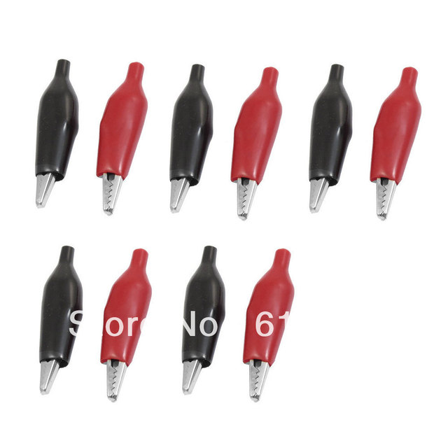 10pcs Black Red Plastic Coated Handle Replacement Wire Alligator ...