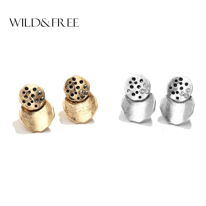 2017 Frauen Neue Heiße Runde Stud Ohrringe Mit Strass Vintage Antike Gold Farbe Geometrische Form Ohrringe Schmuck Für Mädchen Geschenk Zu Verkaufen