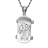 Lion Head Scooter Pendant Necklace Square Titanium Stainless Steel Men S Fashion Necklace