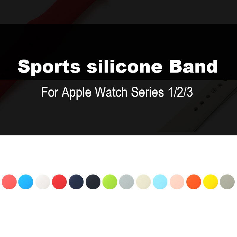 Sport Silicone Band for apple watch Series 3 / 2 Replaceable Bracelet Strap for iWatch 42mm 38mm Watchband Watchstrap