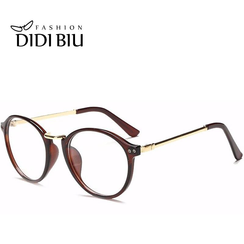 4bf0e4d52b80 Didi Round Metal Eyeglass Frames Women Men Transparent Spectacles