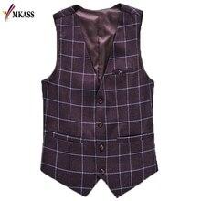 MKASS Brand Brown Plaid Mens Vest Vintage Tweed Formal Dress Waistcoat Suit For Wedding Slim Fit Sleeveless Jackets Gilet
