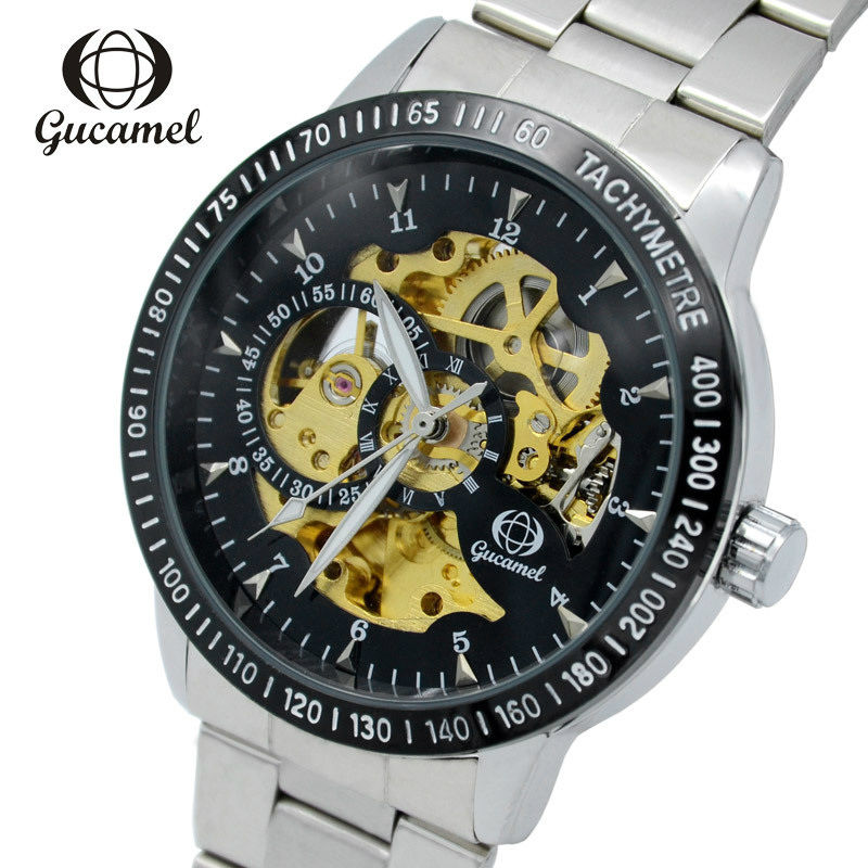 GUCAMEL Luxury Brand Men Skeleton Automatical Mechanical Wristwatch Business Waterproof Stainless Steel Leather Strap Male Watch automatical mechanical watches men luxury brand watch male clock leather wristwatch men skeleton casual business gold watch