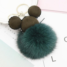 Charmcci Fashion Chaveiro Mickey Keychain FOX Fur Pom Pom Key Chain Fashion Accessories Ornaments Real Fur Pompon Key chain Key недорого