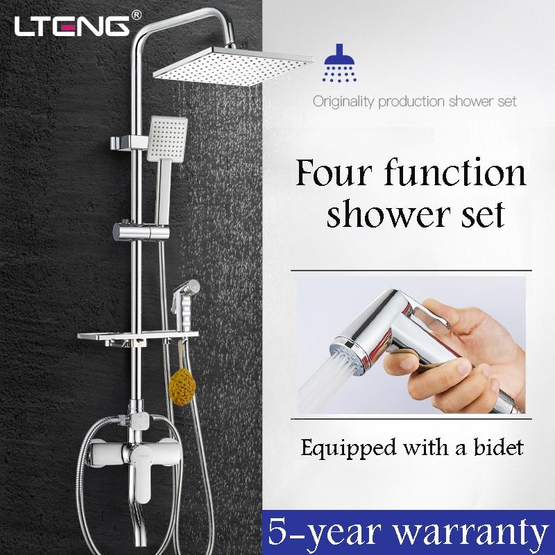 lteng-bathroom-shower-set-with-women's-wash-spray-gun-copper-shower-faucet-ceramic-spool-rain-shower-head-shower-system-freeship