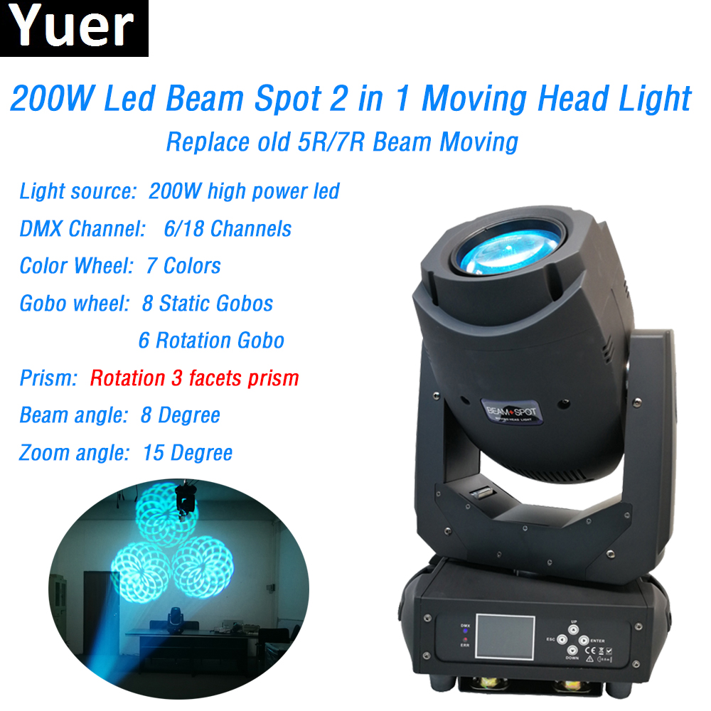 LED 200w Moving Head Beam Spot 2in1 party stage light color&gobo wheel 3 facets prism dj disco light DMX512 with zoom function discount price 2 pack 200w led moving head spot wash 2in1 light 75w white 9 12w rgbwa purple leds mini rotate gobo color wheel