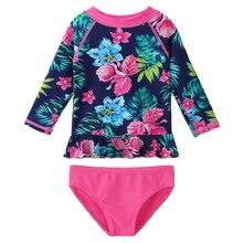 цена BAOHULU Baby Kids Toddler Flowers Swimwear Girls Long Sleeve UV 50+ Sun Protection Bikinis Set Two-piece suit Bathing Swimsuits онлайн в 2017 году