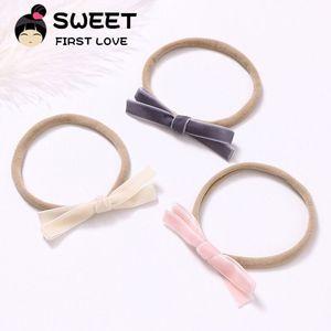 3 шт./лот, бархатные повязки на голову с бантом для детей, мягкие эластичные повязки на голову ручной работы, повязка на голову, простые аксес...