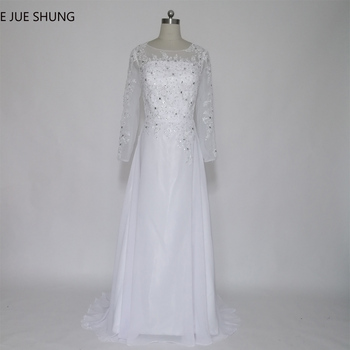 E JUE SHUNG vestido de novia White Chiffon Long Sleeves Beach Wedding Dresses Lace Appliques Beaded Wedding Gowns trouwjurk