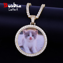 Custom Circle Photo Medallions Necklace & Pendant With 4mm Tennis Chain Gold Color Cubic Zircon Mens Hip hop Jewelry