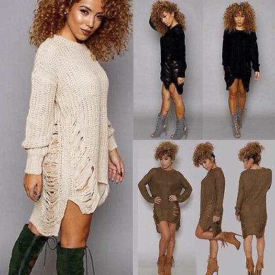 9216bf2a4764 Women Lady Clothes Fashion Long Knitted Jumper Chunky Sweaters Casual  Pullover Irregular Stylish New Size 6
