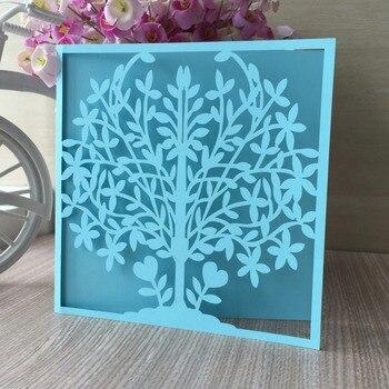 30pcs Laser Cut Tree Wedding Party Birthday Decoration Invitation card Gate Bat Mitzvah Card Jewish Blessing Best Wishes Card