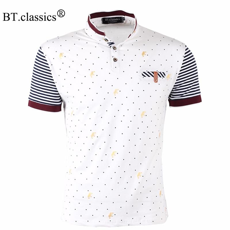 2017 New Polo Brand Men Clothes 100% Cotton Short Sleeve Polka Dot Print Polo Shirt Men Slim Fit Polos Plus size Polo Shirts