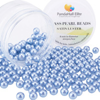 Pearlized Glass Pearl Round Beads Dyed CornflowerBlue 8mm Hole 1mm About 200pcs Box