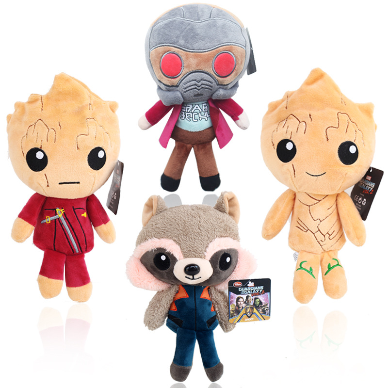 4pcs/lot 22cm Movie Guardians Of The Galaxy 2 Ents Tree Man Rocket Raccoon Plush Toy Soft Stuffed Toys Doll for Kids Children