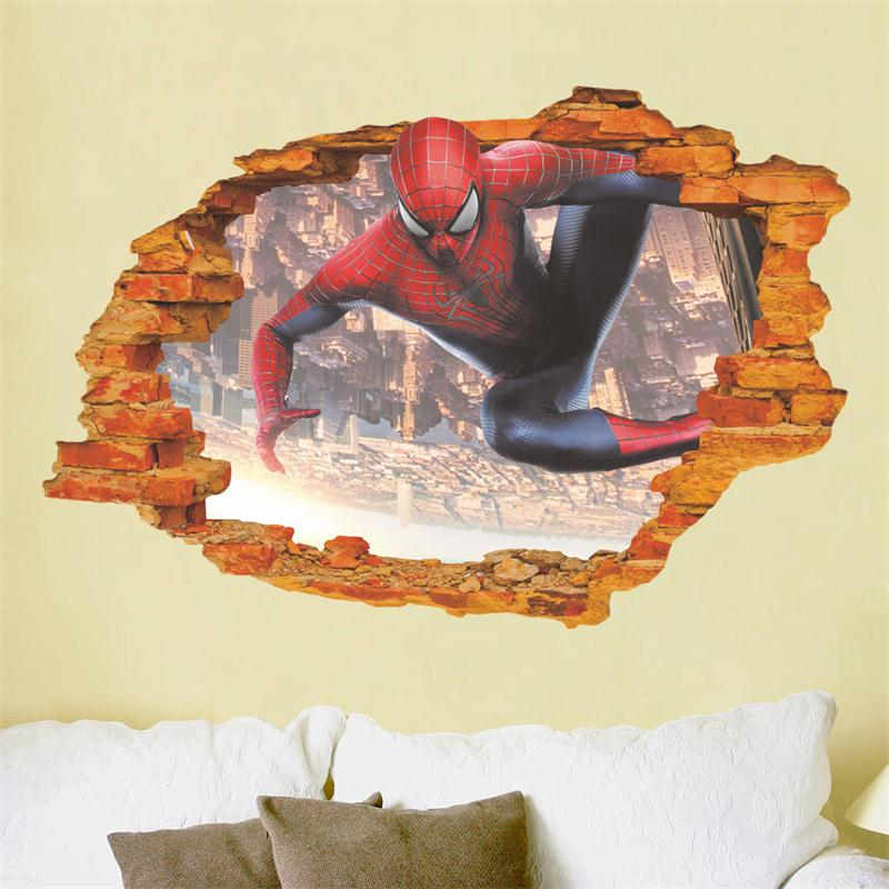 aplastado spiderman d pegatinas de pared para de nios nios baby nursery home decor