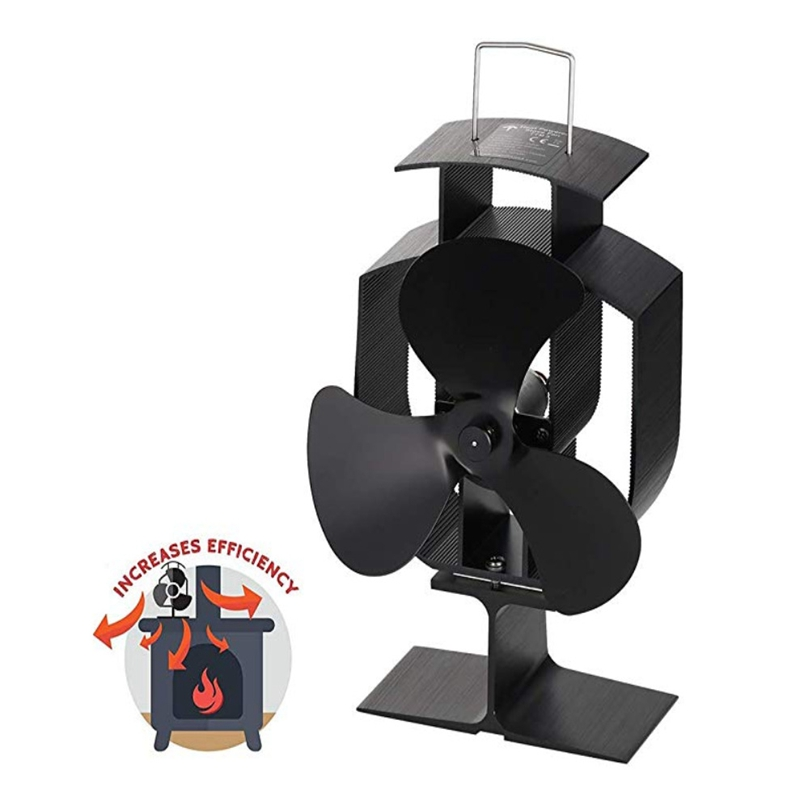 Silent Operation 3 Blades Heat Powered Stove Fan For Wood Log Burner Fireplace Start 60℃ Home Of Small Height Fireplace Fan
