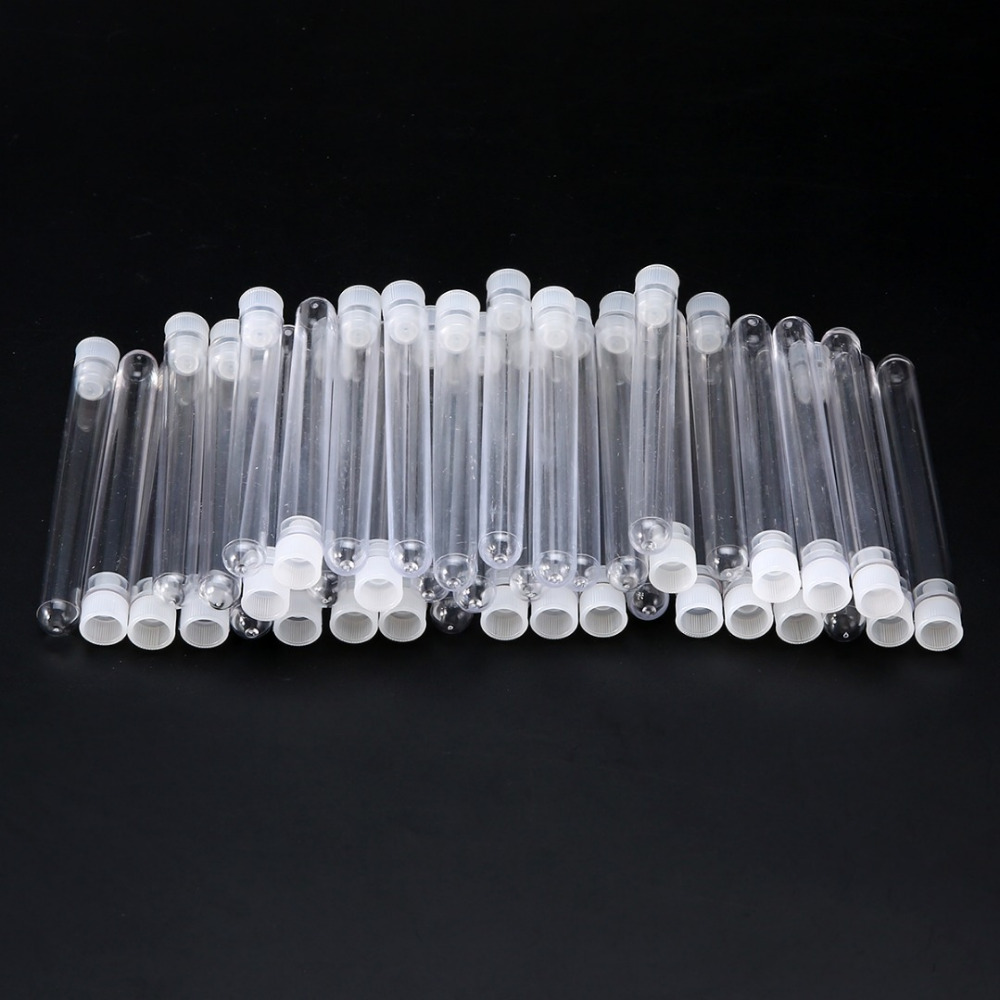 50Pcs/Set Plastic Test Tube Simple Design Test Tube Transparent Clear Plastic Test Tubes Vials 100mm X 12mm With Push Caps