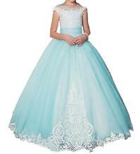 цена 2018 Pink Sky Blue   Flower Girls Dresses Spaghetti Straps Pageant Dress  Weddings Tulle Ball Gown Girl Party Communion в интернет-магазинах