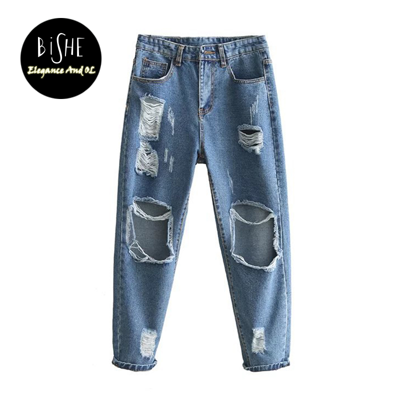 2017 Spring Boyfriend Hole Ripped Jeans Women Pants Cool Denim Light Blue Straight Jeans For Girl Mid Waist Casual Pants Female denim overalls male suspenders front pockets men s ripped jeans casual hole blue bib jeans boyfriend jeans jumpsuit or04