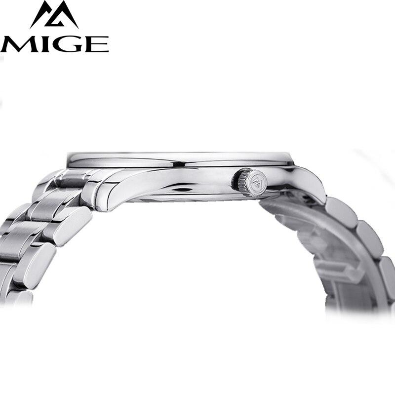 Mige 2017 настоящая Новинка распродажа мужские часы Белый Черный Коричневый кожаный бизнес водонепроницаемый корпус из розового золота ультра... - 2